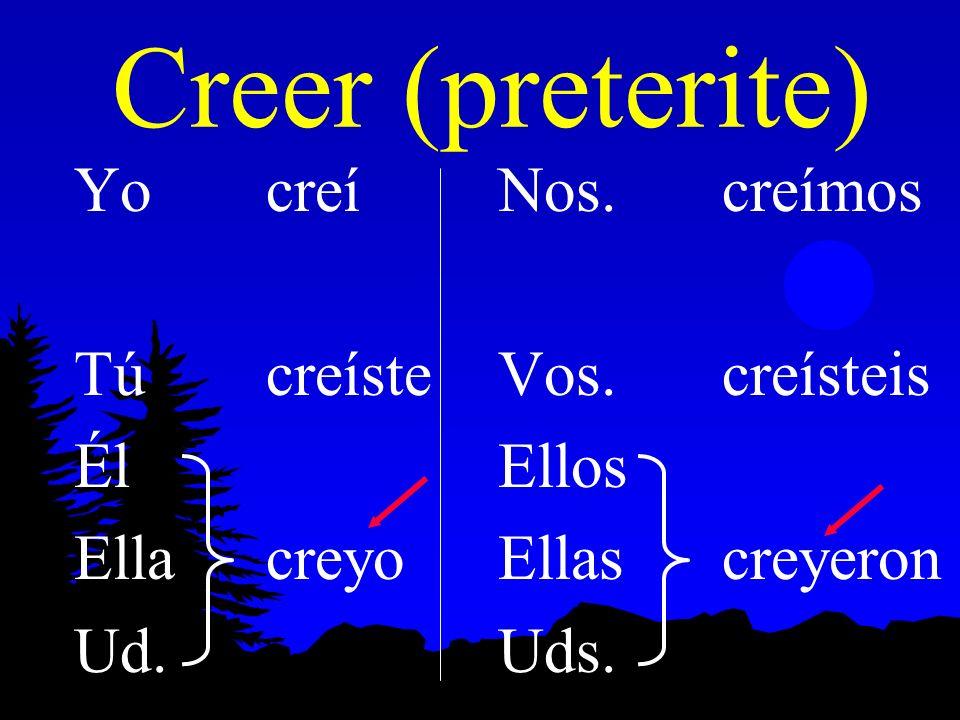 Creer (present) Yocreo Túcrees Él Ellacree Ud. Nos. creemos Vos. creéis Ellos Ellas creen Uds.