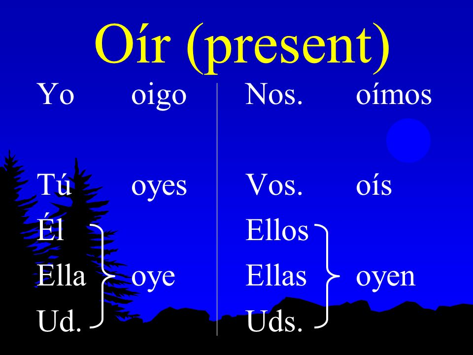 Preterite of Oír, Leer, Creer, Destruir l Here are the present and preterite forms of oír: