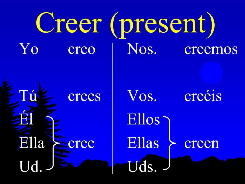 Preterite of Oír, Leer, Creer, Destruir l Creer and Leer follow the same pattern in the preterite: