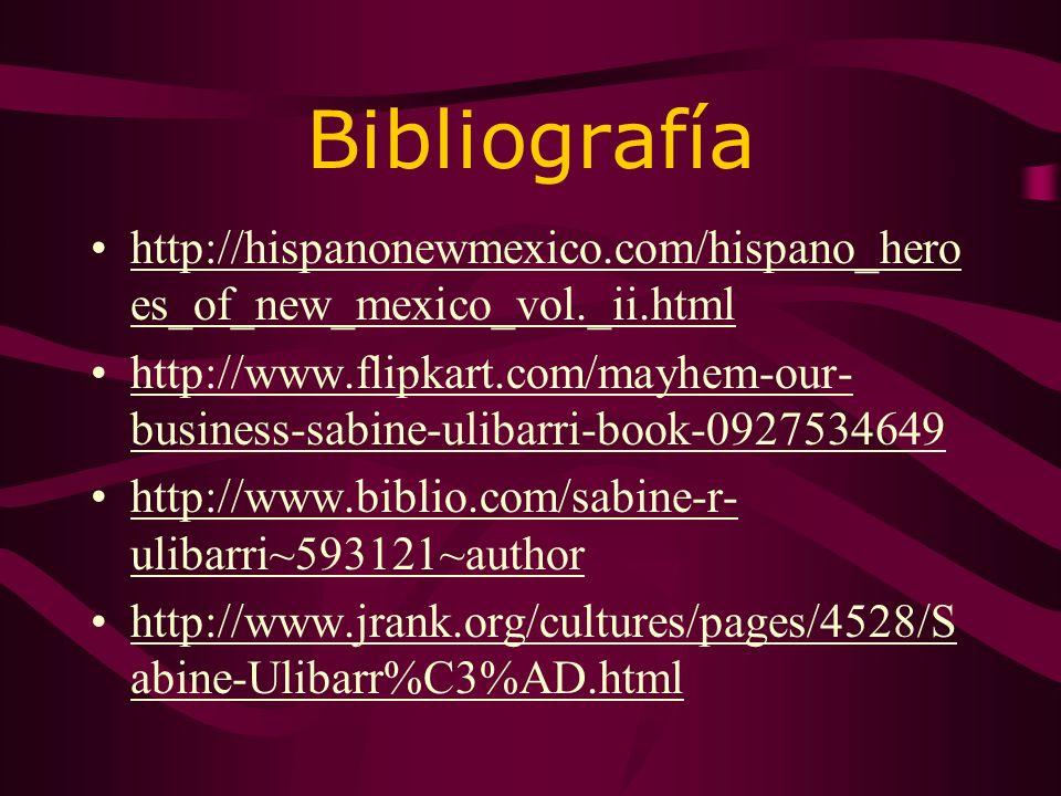 і PREGUNTAS! ¿Qué año se nació Sabine? ¿Dónde estuvo? ¿Quién se casó? ¿Qué tipo de escritor fue Ulibarrí? ¿Qué fue dos libros de Ulibarrí?
