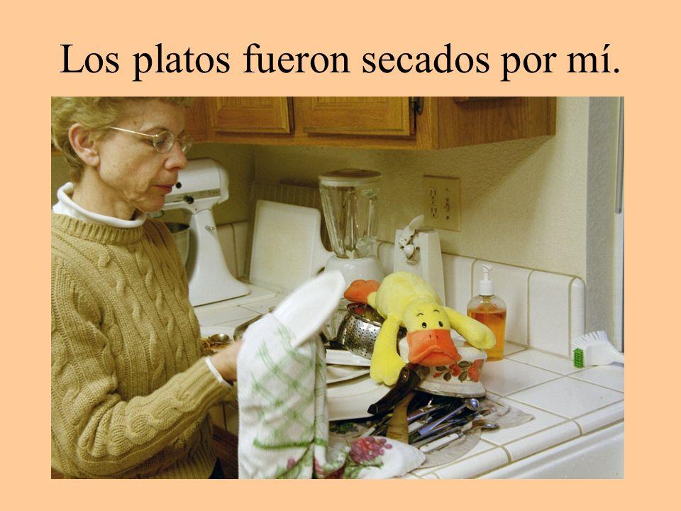 Los platos fueron secados por mí.