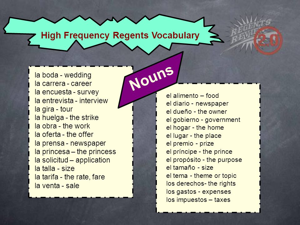 High Frequency Regents Vocabulary el alimento – food el diario - newspaper el dueño - the owner el gobierno - government el hogar - the home el lugar - the place el premio - prize el príncipe - the prince el propósito - the purpose el tamaño - size el tema - theme or topic los derechos- the rights los gastos - expenses los impuestos – taxes la boda - wedding la carrera - career la encuesta - survey la entrevista - interview la gira - tour la huelga - the strike la obra - the work la oferta - the offer la prensa - newspaper la princesa – the princess la solicitud – application la talla - size la tarifa - the rate, fare la venta - sale Nouns