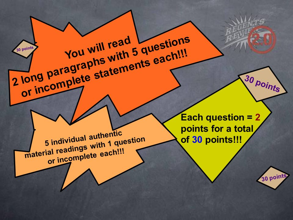 You will read 2 long paragraphs with 5 questions or incomplete statements each!!.