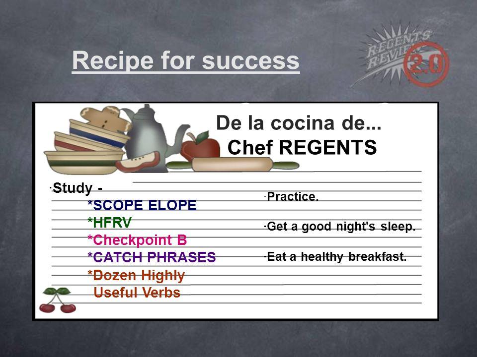 De la cocina de... Chef REGENTS ·Study - *SCOPE ELOPE *HFRV *Checkpoint B *CATCH PHRASES *Dozen Highly Useful Verbs ·Practice. ·Get a good night's sle