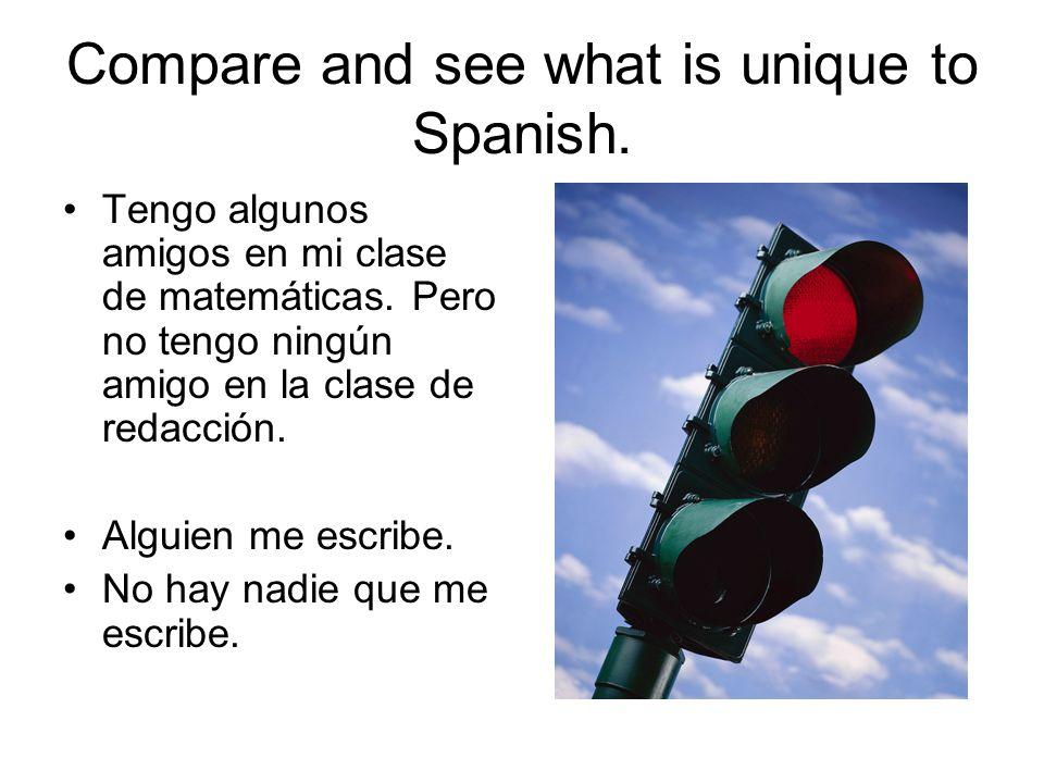 Compare and see what is unique to Spanish. Tengo algunos amigos en mi clase de matemáticas. Pero no tengo ningún amigo en la clase de redacción. Algui