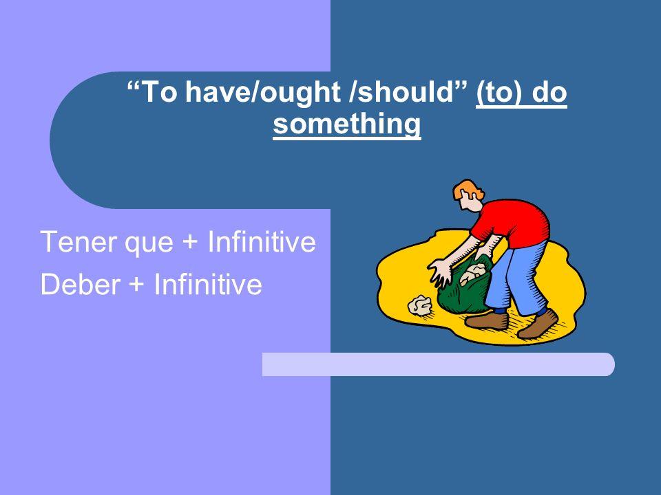 Tener que + infinitive – to have to (do something) Tengo que – I have Tienes que – you have Tiene que – he, she, has / you polite have Tenemos que – we have Tenéis que – you have Tienen que – they, you have + infinitive: estudiar, poner, cerrar, usar, tener, ayudar, ir, etc.
