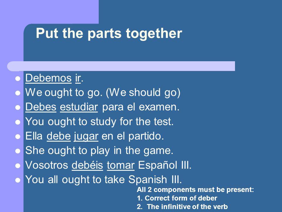 Now you try.They ought to speak in Spanish. Ellos deben hablar en español.