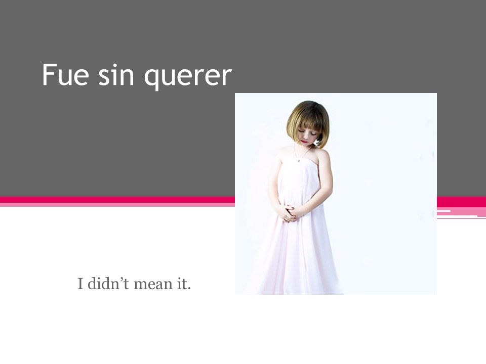 Fue sin querer I didnt mean it.