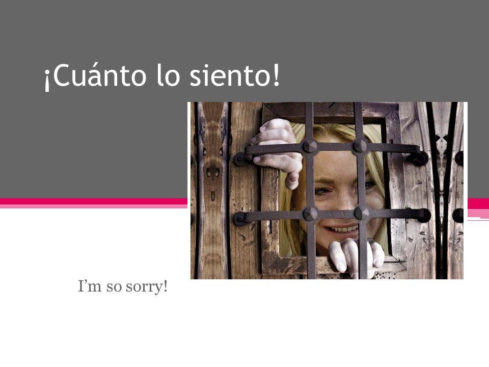 ¡Cuánto lo siento! Im so sorry!