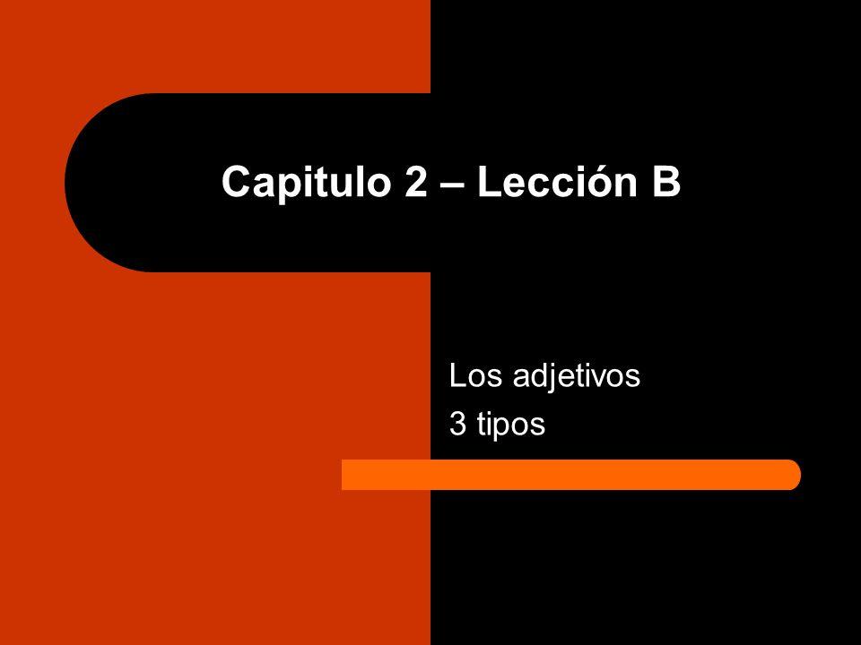 Capitulo 2 – Lección B Los adjetivos 3 tipos