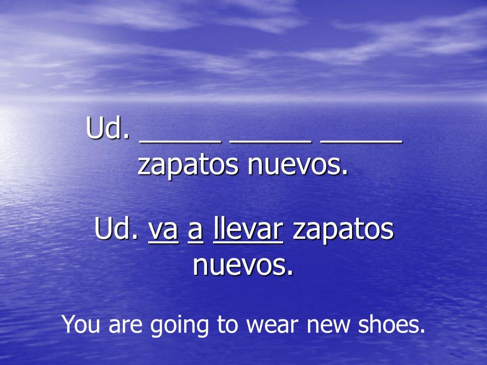 Ud. _____ _____ _____ zapatos nuevos. Ud. va a llevar zapatos nuevos.