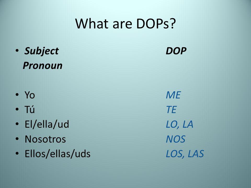 What are DOPs? Subject DOP Pronoun Yo ME TúTE El/ella/udLO, LA NosotrosNOS Ellos/ellas/udsLOS, LAS