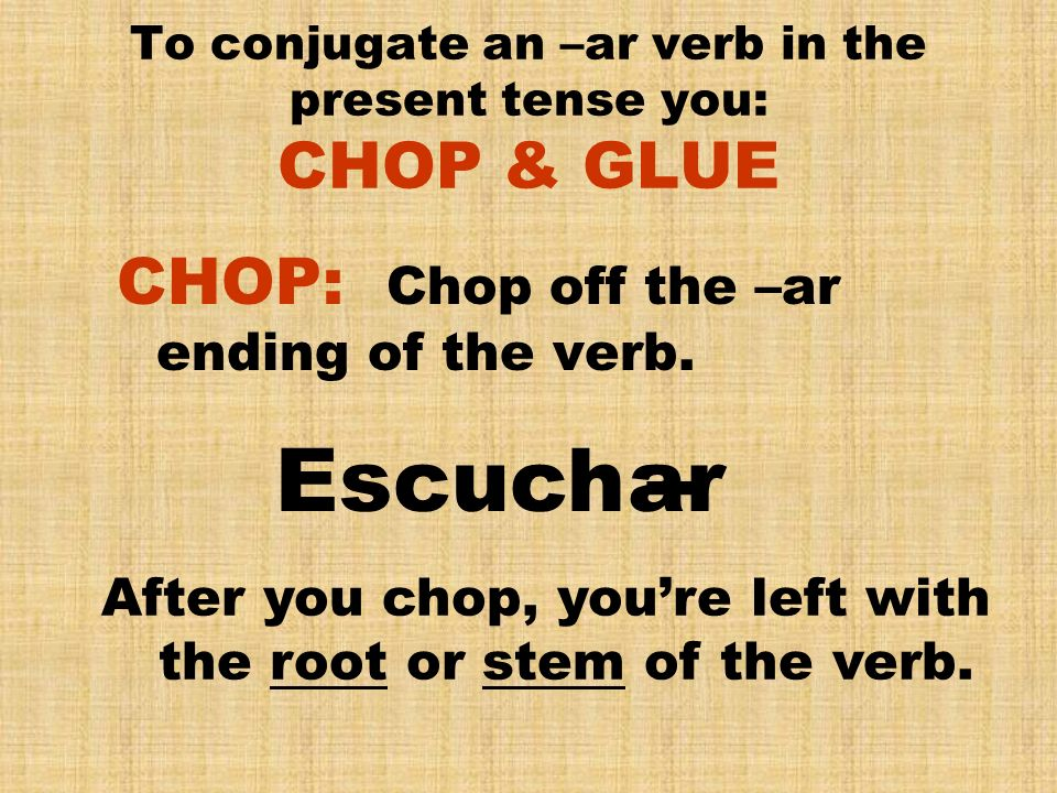 To conjugate an –ar verb in the present tense you: CHOP & GLUE GLUE: Glue the –ar set of endings to the root of the verb.