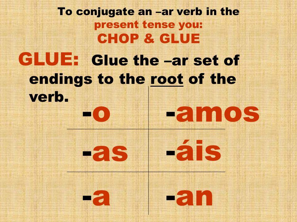 escuch To conjugate an –er verb in the present tense you: CHOP & GLUE Escuch – To Listen ar -- o as a amos áis an escuch