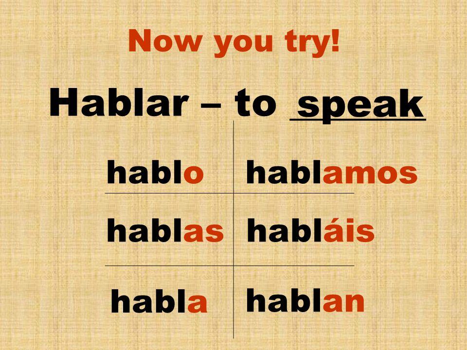 Common – AR Verbs Contestar Ayudar Enseñar Esperar Hablar Buscar Entrar Estudiar - to help - to look for - to answer - to teach - to enter - to wait/hope - to study - to speak