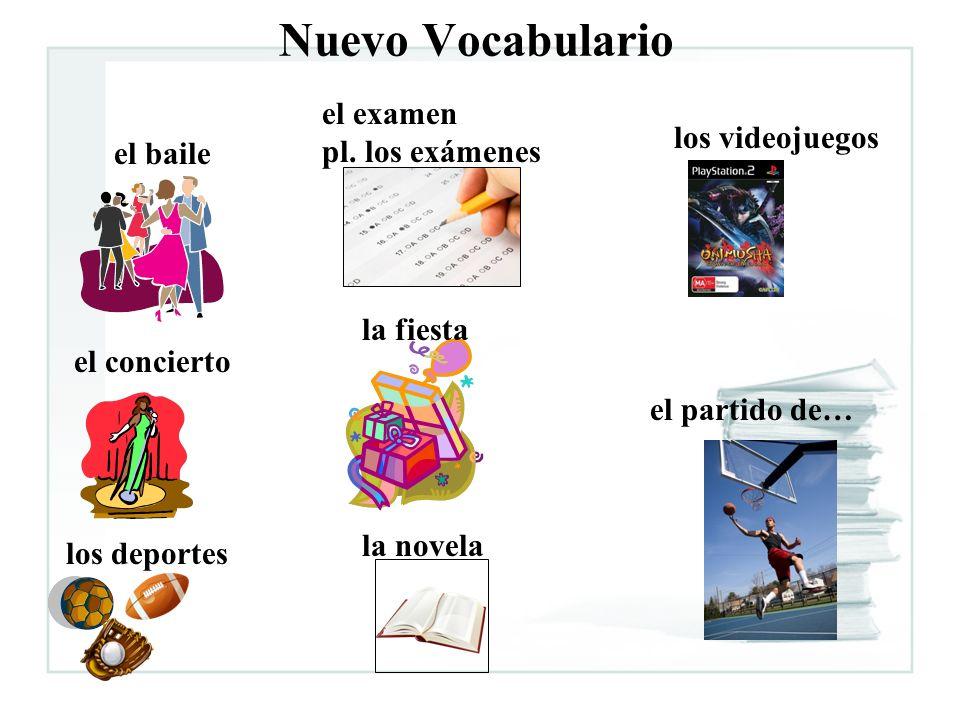 Nuevo Vocabulario el baile el concierto los deportes el examen pl. los exámenes la fiesta la novela los videojuegos el partido de…