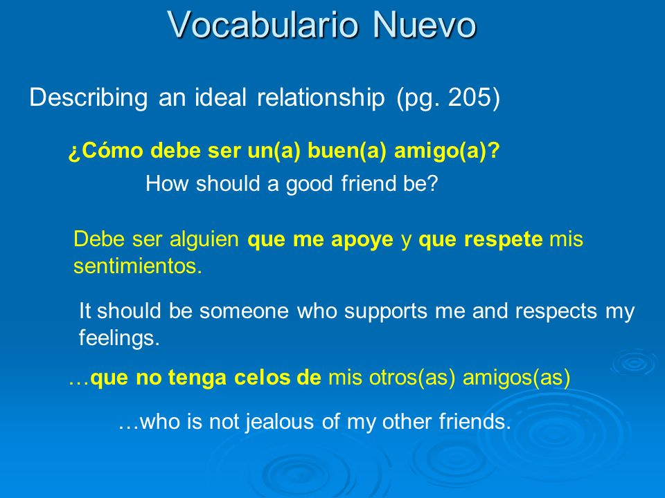 Vocabulario Nuevo Describing an ideal relationship (pg.