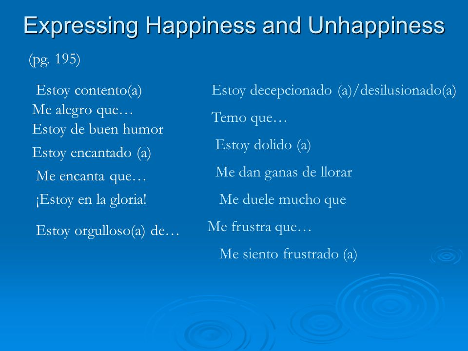 Expressing Happiness and Unhappiness (pg.