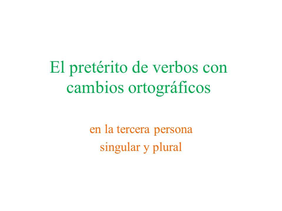 El pretérito de verbos con cambios ortográficos en la tercera persona singular y plural
