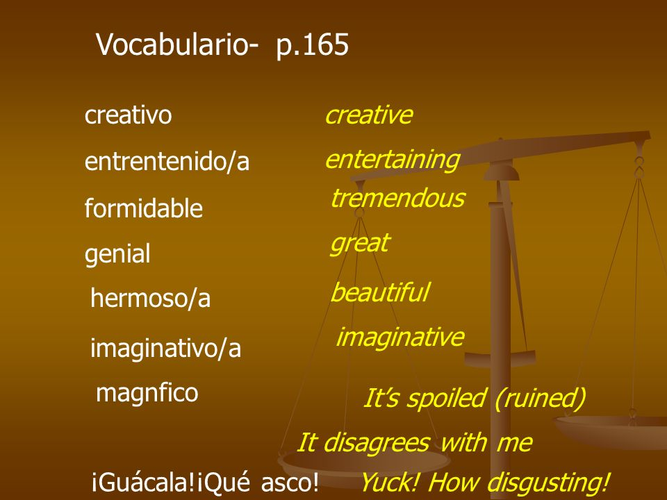 Vocabulario- p.165 creativo entrentenido/a formidable creative entertaining tremendous genial beautiful hermoso/a imaginative imaginativo/a Its spoile