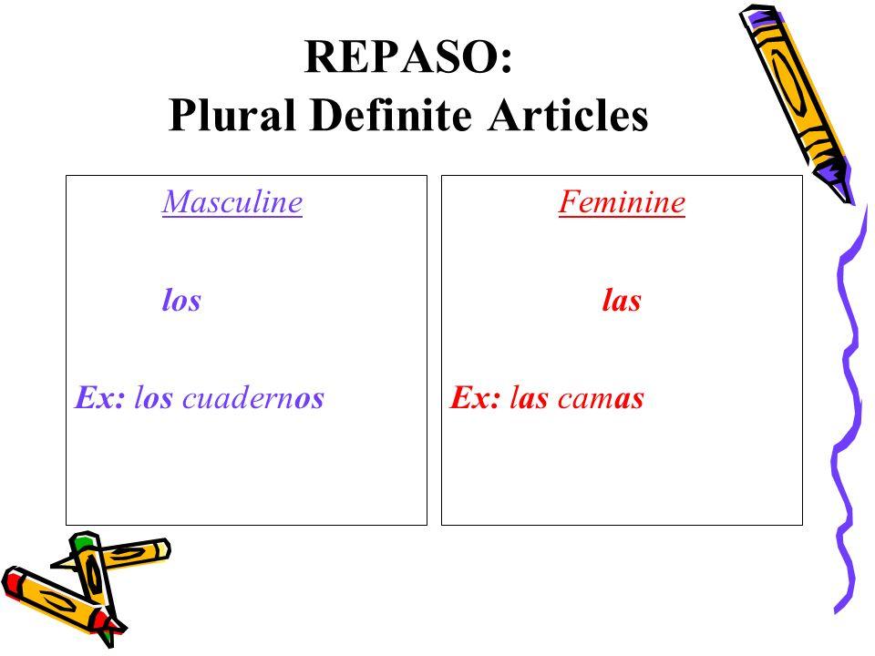 REPASO: Plural Definite Articles Masculine los Ex: los cuadernos Feminine las Ex: las camas