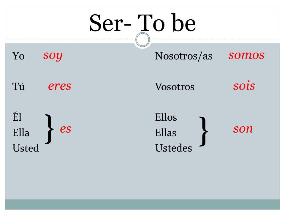 Ser- To be YoNosotros/as T úVosotros ÉlEllos EllaEllas Usted Ustedes } } soy eres es somos sois son