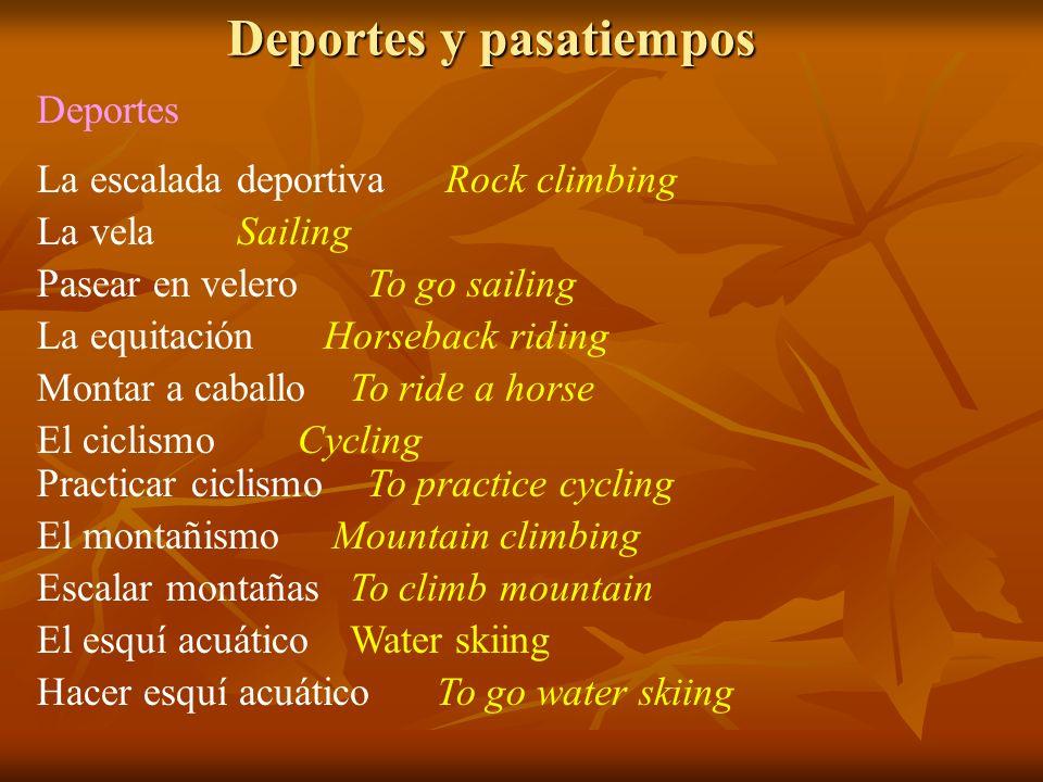 Deportes y pasatiempos Deportes La escalada deportiva Pasear en velero La vela La equitación Montar a caballo El ciclismo Practicar ciclismo El montañ
