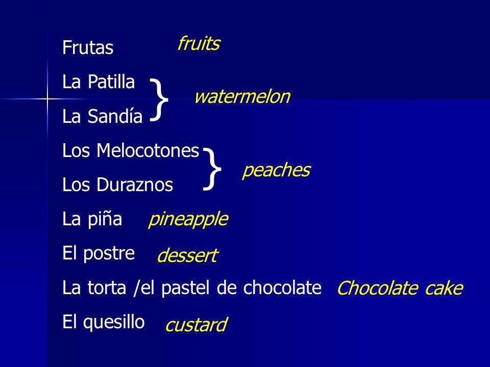Frutas La Patilla La Sandía Los Melocotones Los Duraznos La piña El postre La torta /el pastel de chocolate El quesillo } } fruits watermelon peaches pineapple dessert Chocolate cake custard