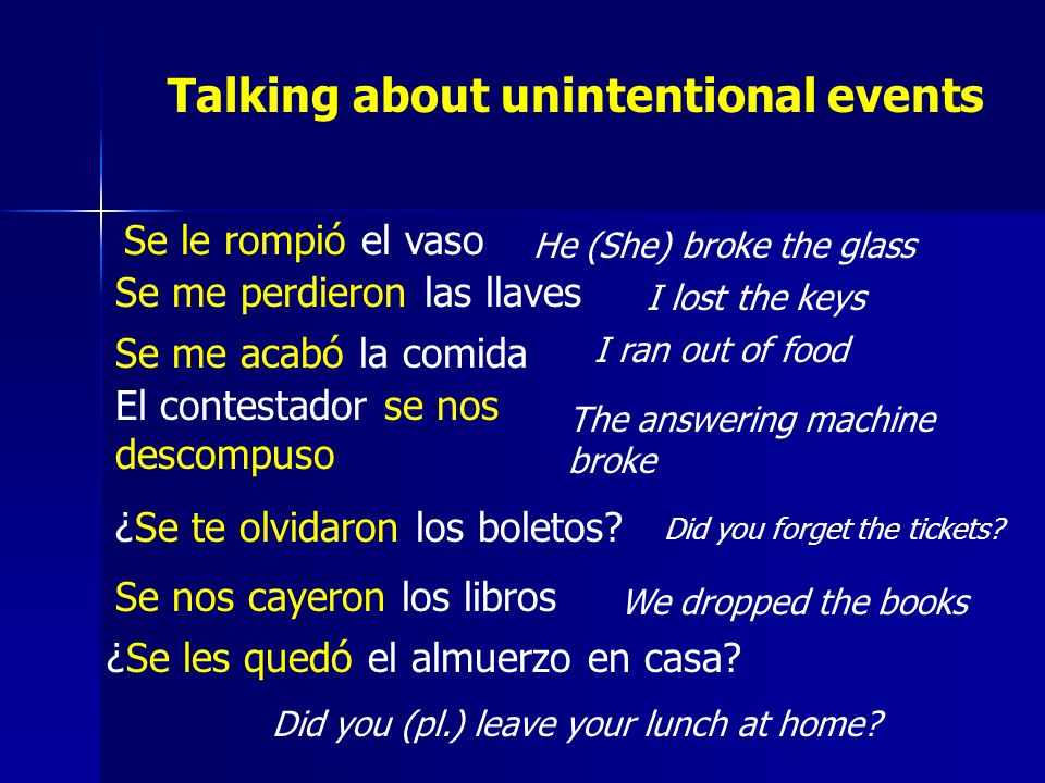 Talking about unintentional events Se le rompió el vaso He (She) broke the glass Se me perdieron las llaves I lost the keys Se me acabó la comida I ra