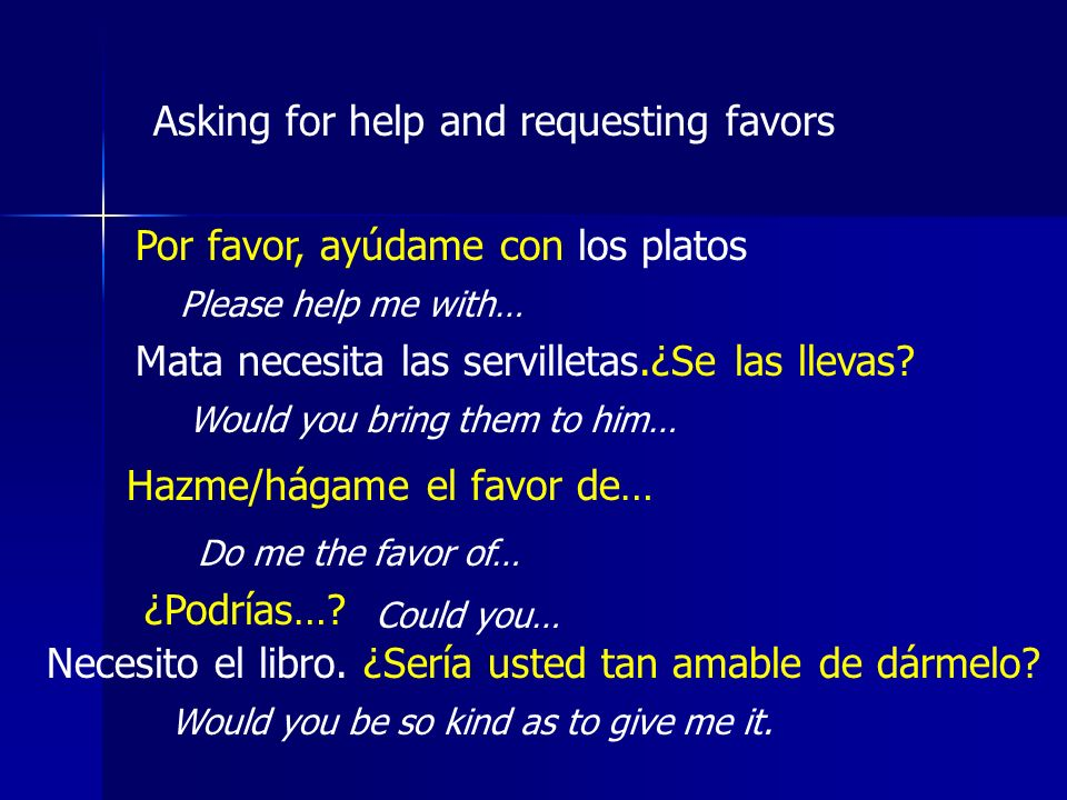 Asking for help and requesting favors Por favor, ayúdame con los platos Please help me with… Mata necesita las servilletas.¿Se las llevas? Would you b