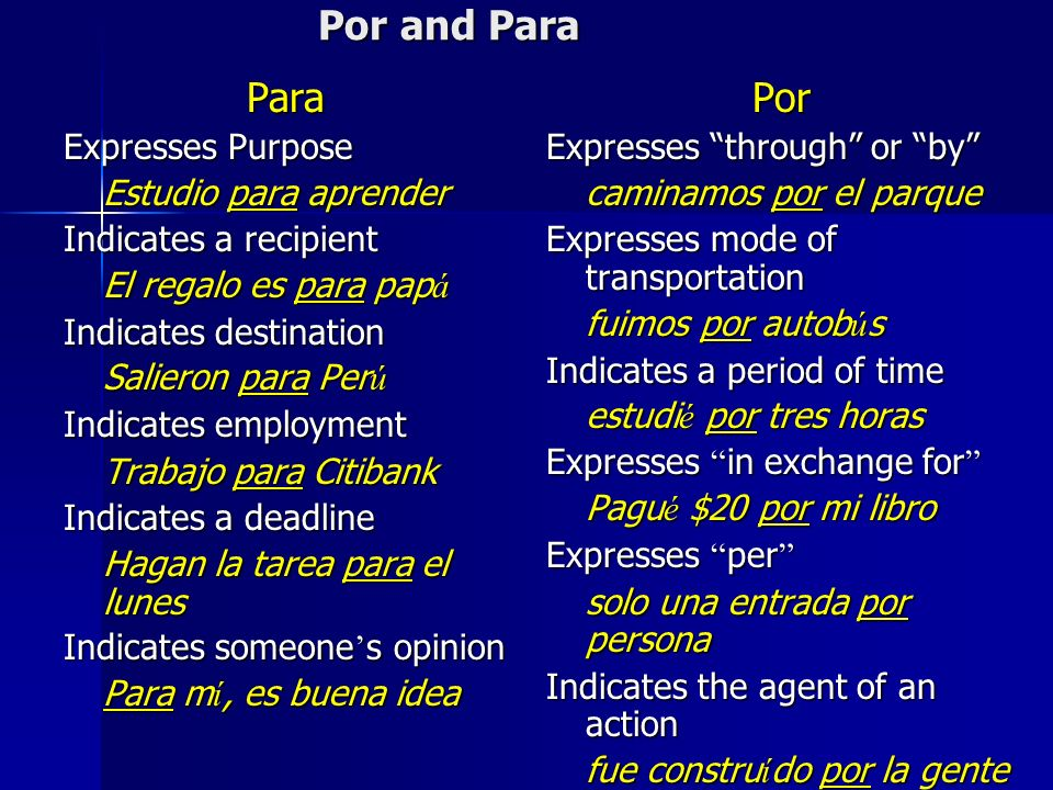 Por and Para Para Expresses Purpose Estudio para aprender Indicates a recipient El regalo es para pap á Indicates destination Salieron para Per ú Indicates employment Trabajo para Citibank Indicates a deadline Hagan la tarea para el lunes Indicates someone s opinion Para m í, es buena idea Por Expresses through or by caminamos por el parque Expresses mode of transportation fuimos por autob ú s Indicates a period of time estudi é por tres horas Expresses in exchange for Expresses in exchange for Pagu é $20 por mi libro Expresses per Expresses per solo una entrada por persona Indicates the agent of an action fue constru í do por la gente