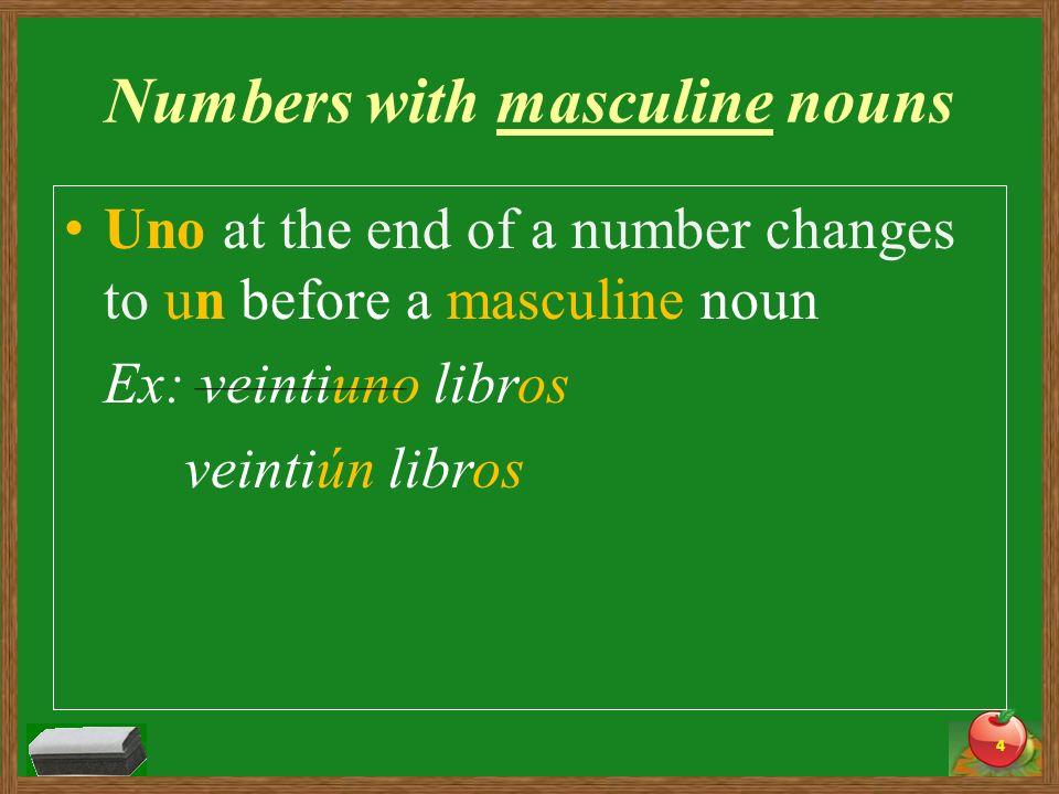 Uno at the end of a number changes to una before a feminine noun Ex: veintiuno reglas veintiuna reglas 5 Numbers with feminine nouns