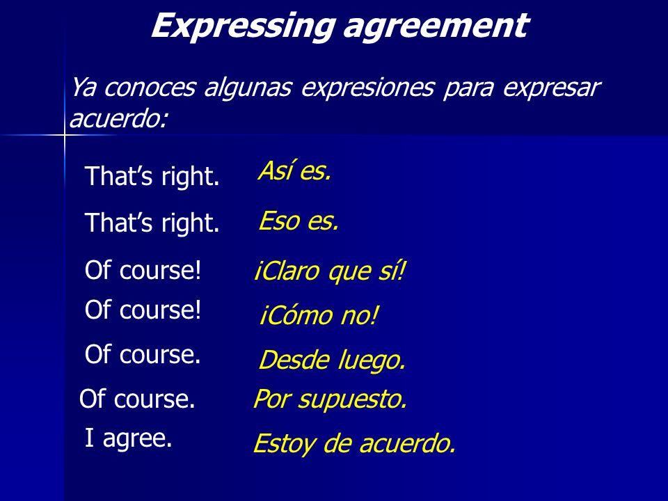 Expressing agreement Ya conoces algunas expresiones para expresar acuerdo: Thats right. Of course! Así es. Eso es. ¡Claro que sí! Of course! ¡Cómo no!
