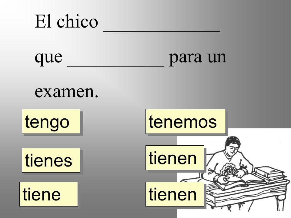 El chico ____________ que __________ para un examen. tengo tienes tiene tienen tenemos