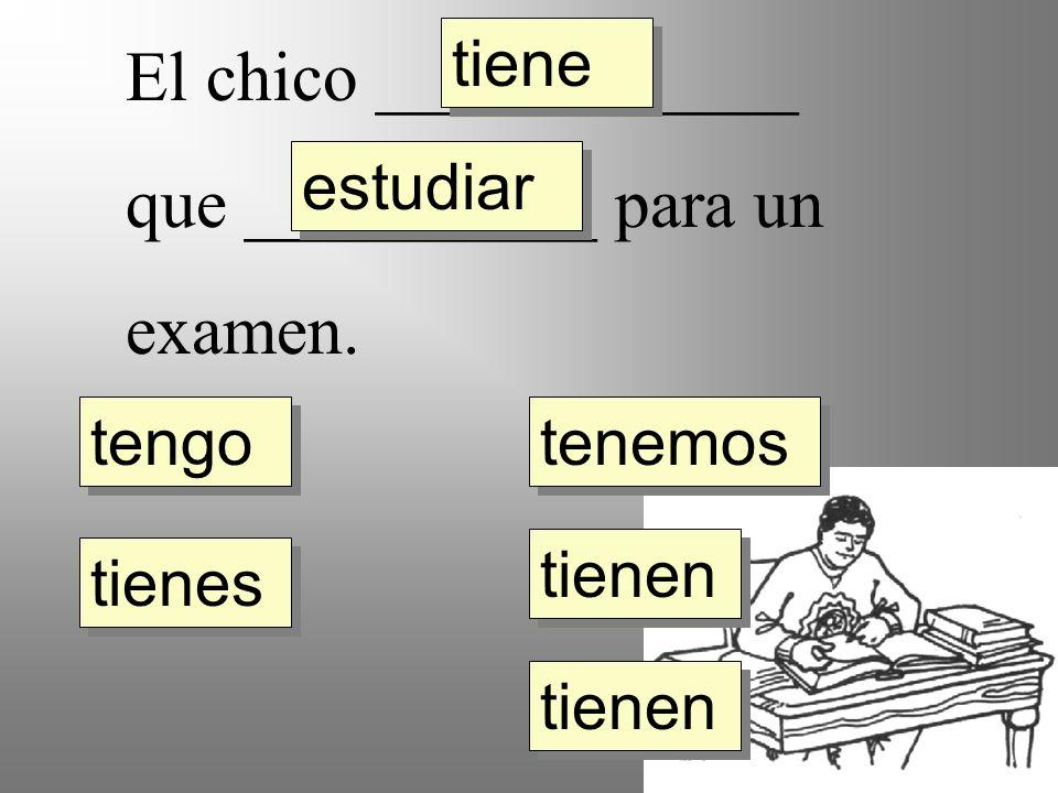 El chico ____________ que __________ para un examen. tengo tienes tiene tienen tenemos estudiar