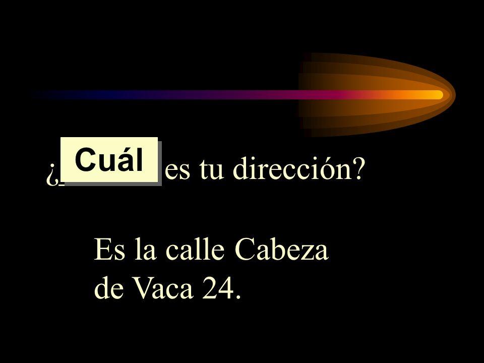 ¿______ es tu dirección? Es la calle Cabeza de Vaca 24. Cuál