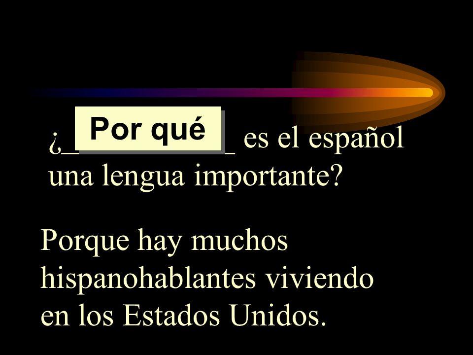 ¿___________ es el español una lengua importante? Porque hay muchos hispanohablantes viviendo en los Estados Unidos. Por qué