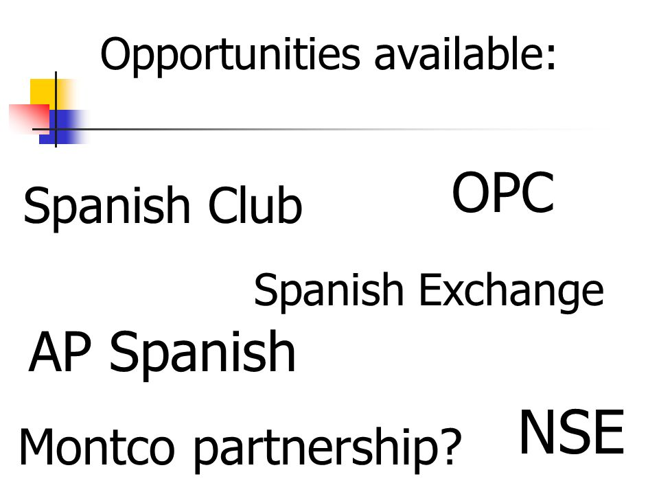 Opportunities available: NSE OPC Spanish Exchange Spanish Club AP Spanish Montco partnership?