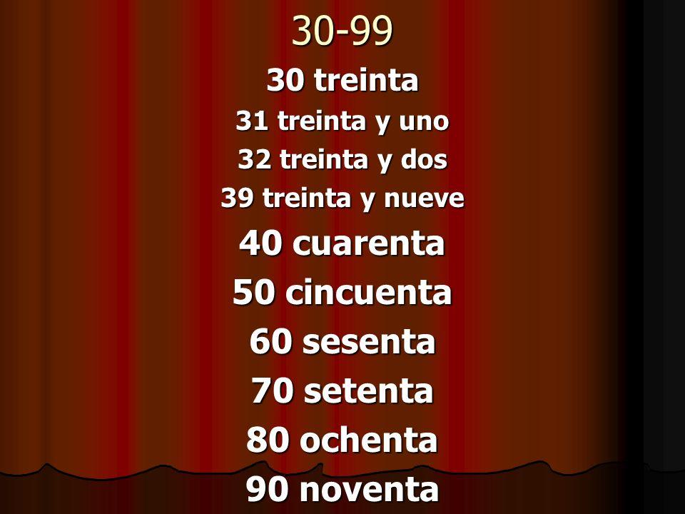 30-99 30 treinta 31 treinta y uno 32 treinta y dos 39 treinta y nueve 40 cuarenta 50 cincuenta 60 sesenta 70 setenta 80 ochenta 90 noventa