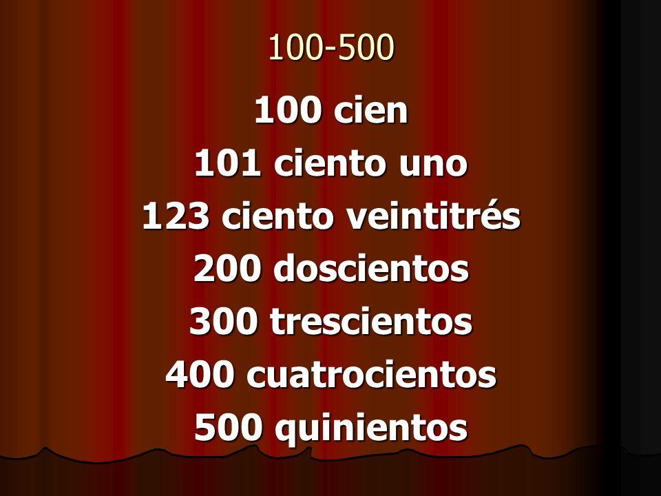 100-500 100 cien 101 ciento uno 123 ciento veintitrés 200 doscientos 300 trescientos 400 cuatrocientos 500 quinientos