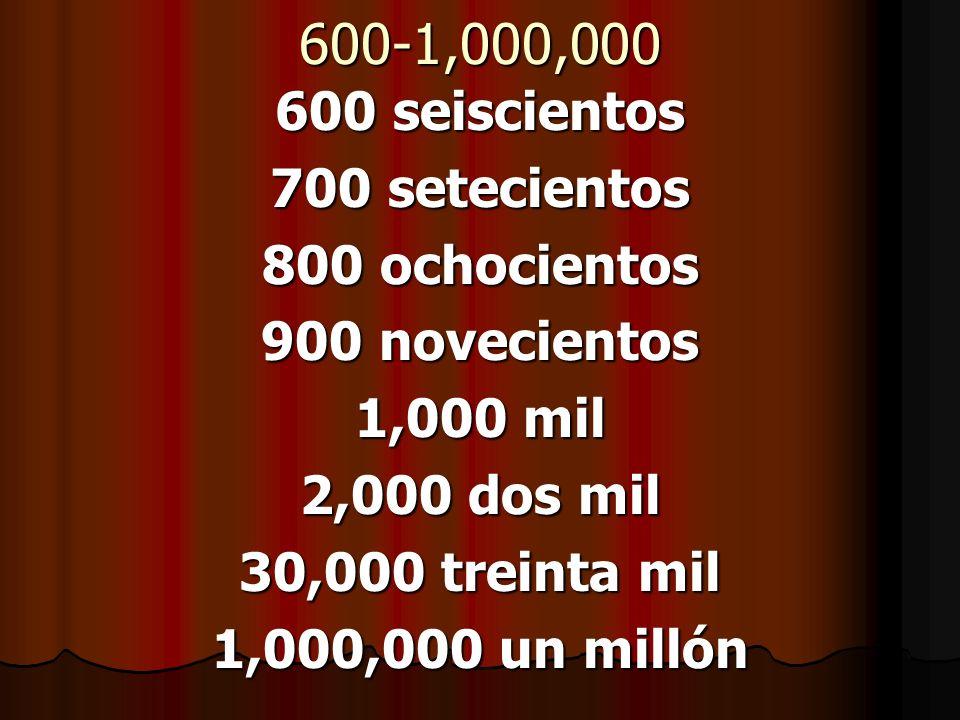 600-1,000,000 600 seiscientos 700 setecientos 800 ochocientos 900 novecientos 1,000 mil 2,000 dos mil 30,000 treinta mil 1,000,000 un millón