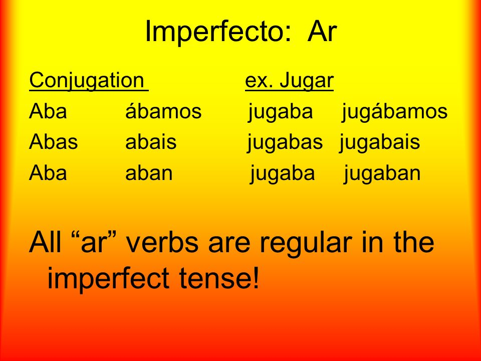 Imperfecto: Er/Ir Conjugation ex.