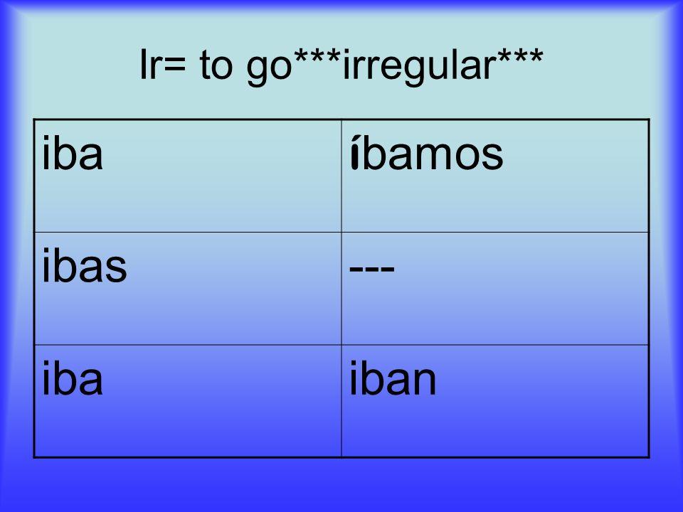 Ir= to go***irregular*** iba í bamos ibas--- ibaiban