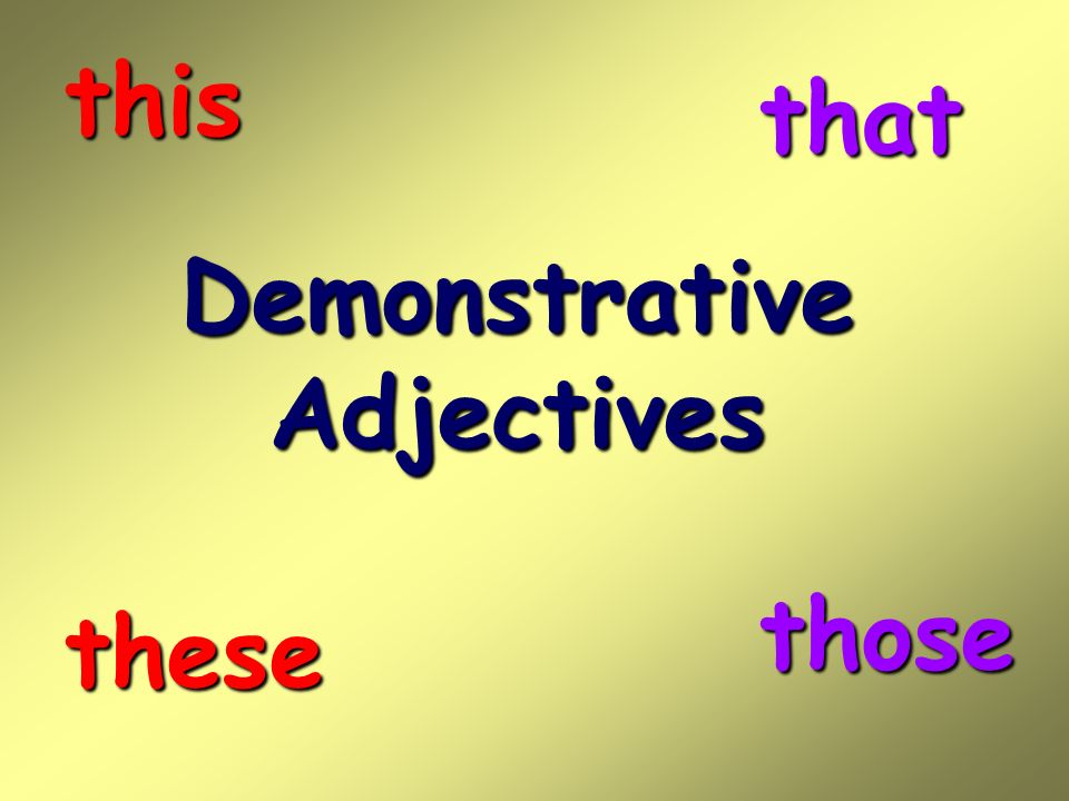 DemonstrativeAdjectives this that these those