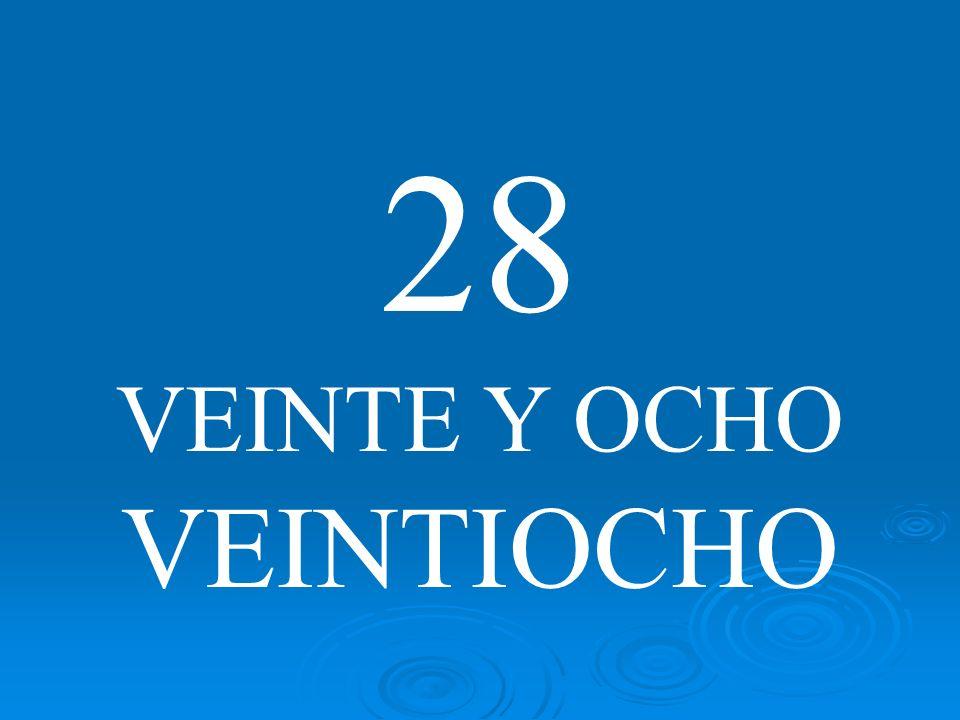 28 VEINTE Y OCHO VEINTIOCHO