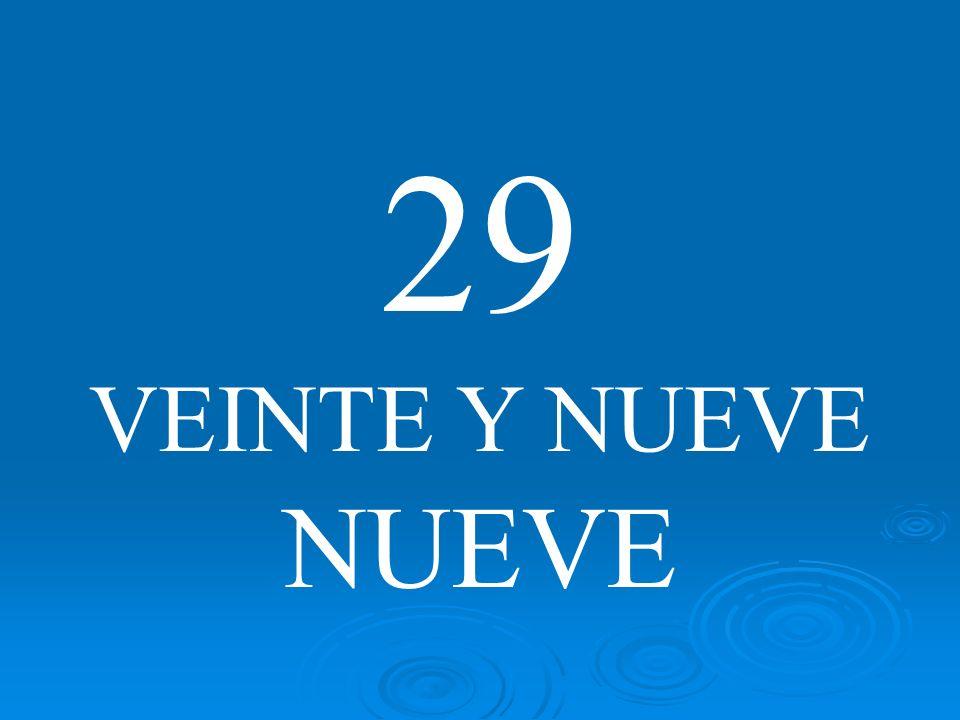 29 VEINTE Y NUEVE NUEVE