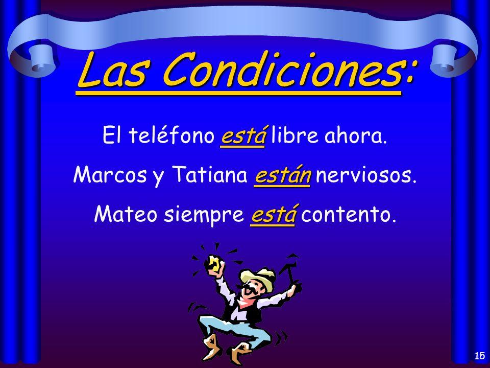 14 La Localización: está Madrid está en España. están Mis libros están en mi casa.