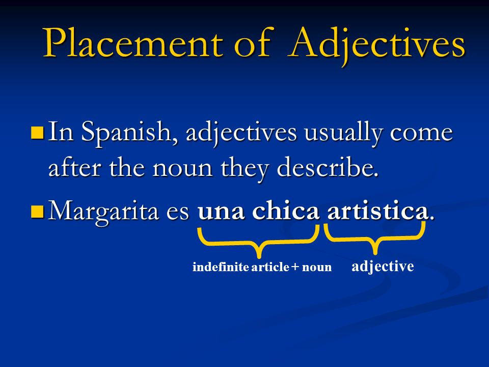 In English sentences the adjective comes before the noun, but in Spanish adjectives mostly come after the noun.