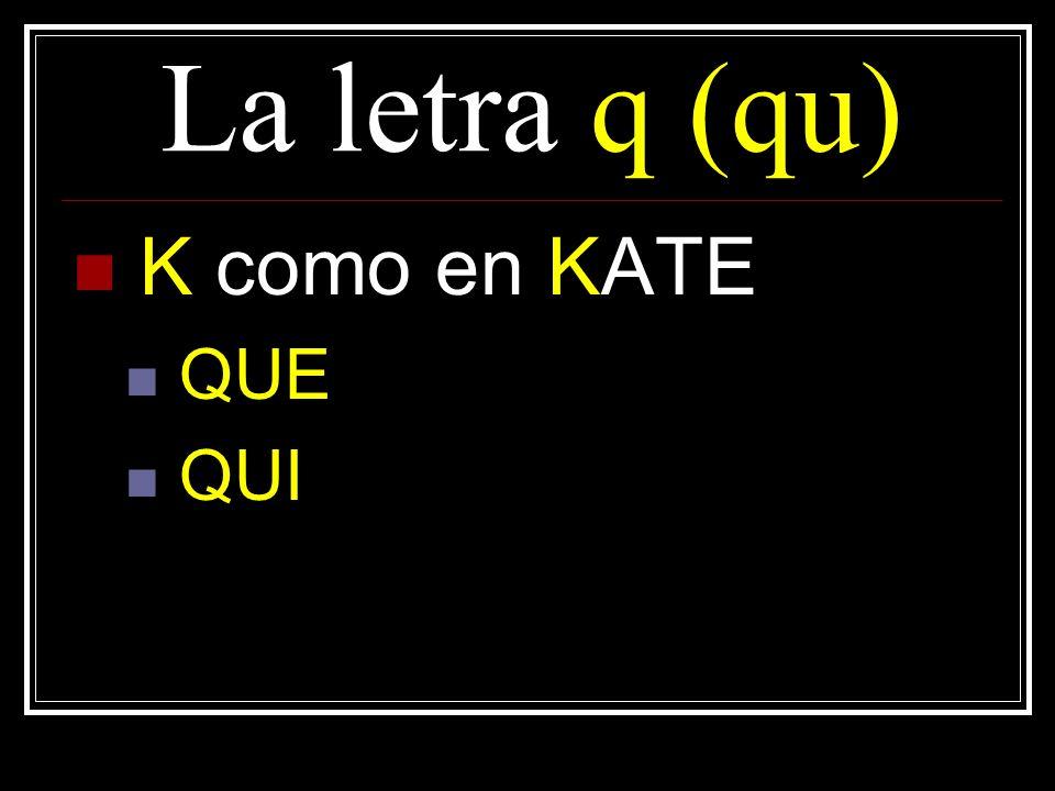 La letra q(qu) K como en KATE QUE QUI