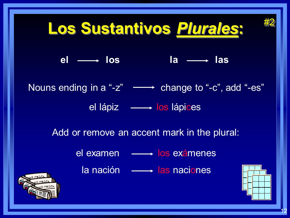 12 Los Sustantivos Plurales: el los la las Nouns ending in a -z change to -c, add -es el lápiz los lápices#2#2 Add or remove an accent mark in the plu
